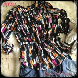NYDJ Abstract Bright Henley Style Top NWOT